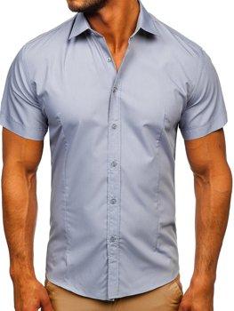 Синяя мужская рубашка с коротким рукавом Bolf 17501