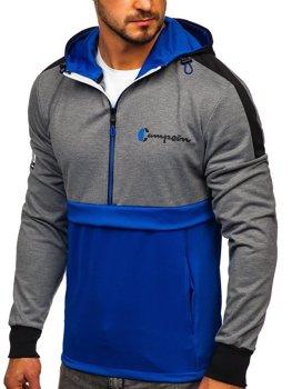Синяя мужская толстовка с принтом и капюшоном Bolf DD20139