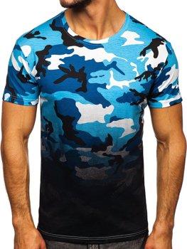 Синяя мужская футболка с камуфляжным принтом Bolf S808