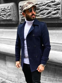 Темно-синее двубортное пальто с поясом мужское зимнее пальто с высоким воротником Bolf 0009