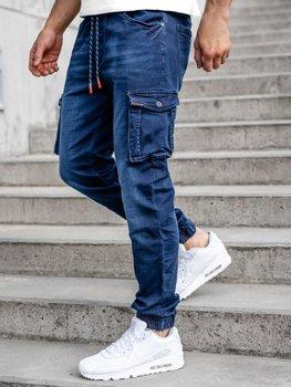 Темно-синие джинсы джоггеры-карго мужские Bolf R51001W0