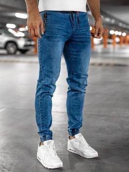 Темно-синие мужские джинсовые брюки джоггеры BOLF HY678