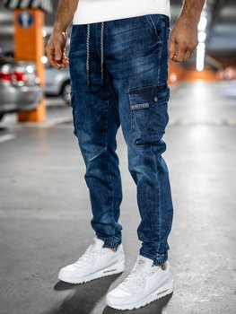 Темно-синие мужские джинсы джоггеры карго slim fit Bolf 85030W0