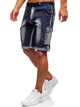 Темно-синие мужские шорты-карго с поясом Bolf BN241