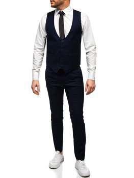 Темно-синий комплект мужской жилет и брюки Bolf 0019