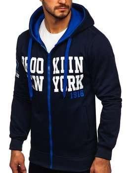 Темно-синий мужская толстовка с капюшоном и принтом Bolf Y10050