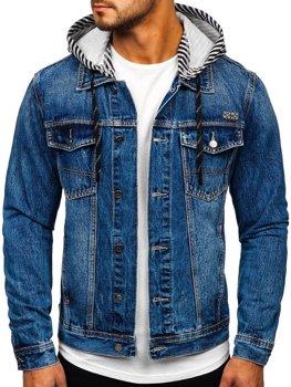 Темно-синяя джинсовая куртка с капюшоном Bolf RB9887-1