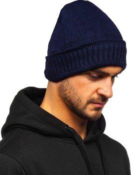 Темно-синяя зимняя мужская шапка YS-32