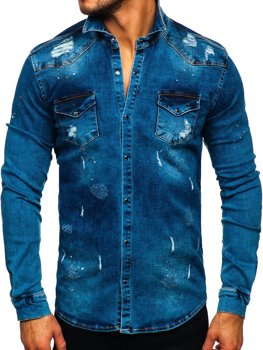 Темно-синяя мужская джинсовая рубашка с длинным рукавом Bolf R800