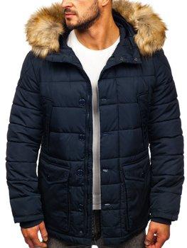 Темно-синяя мужская зимняя куртка парка Аляска Bolf JK361