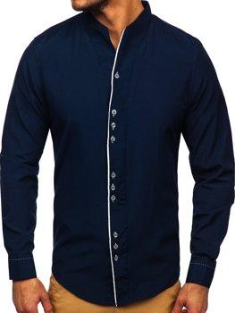 Темно-синяя мужская рубашка с длинным рукавом Bolf 5720