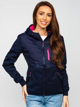 Темно-синяя стеганая женская демисезонная куртка с капюшоном Bolf KSW4013
