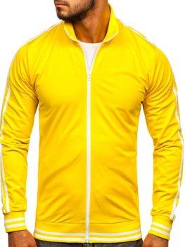 Толстовка мужская без капюшона ретро стиль желтая Bolf 11113