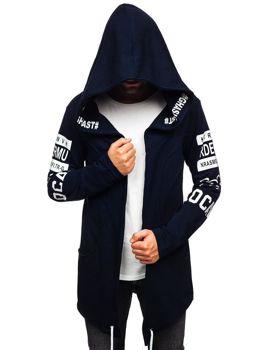 Удлиненная толстовка мужская с капюшоном с принтом темно-синяя Bolf 11110