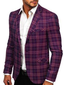 Фиолетовая клетчатый мужской повседневный пиджак Bolf 8080