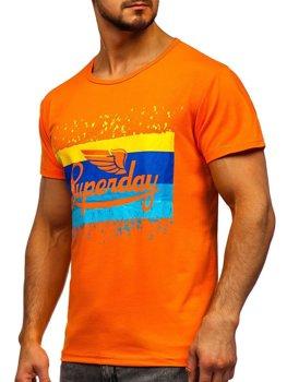 Футболка мужская с принтом оранжевая Bolf KS1966