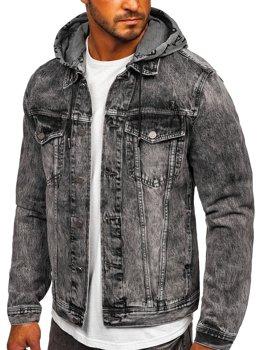 Черная джинсовая куртка с капюшоном Bolf RB9860-1