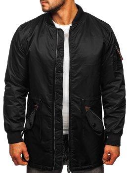 Черная мужская демисезоння куртка парка Bolf JK363