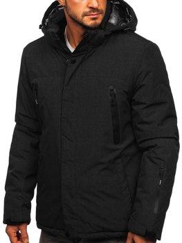 Черная мужская зимняя спортивная лыжная куртка Bolf 9801