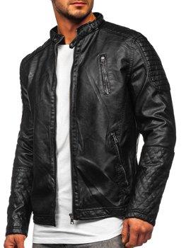 Черная мужская кожаная куртка Bolf 5916309