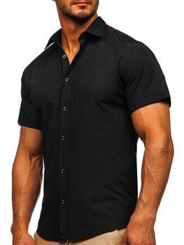 Черная мужская рубашка с коротким рукавом Bolf 17501