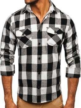 Черная мужская фланелевая рубашка с длинным рукавом Bolf 20723