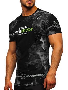 Черная мужская футболка с принтом Bolf SS11003