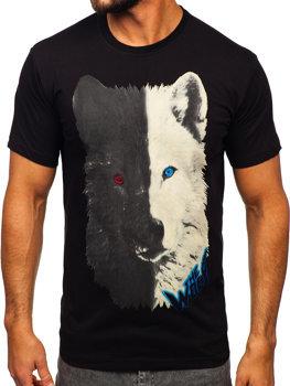 Черная хлопковая мужская футболка с принтом Bolf 14800