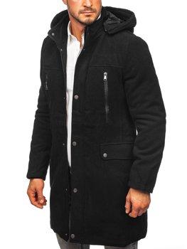 Черное зимнее пальто с капюшоном Bolf 88873