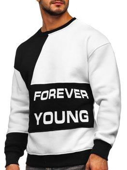 Черно-белая мужская толстовка с принтом Forever Young без капюшона Bolf 0002