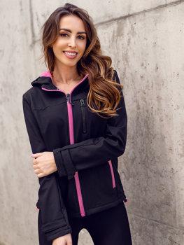 Черно-розовая женская куртка демисезонная Софтшелл Bolf HH018