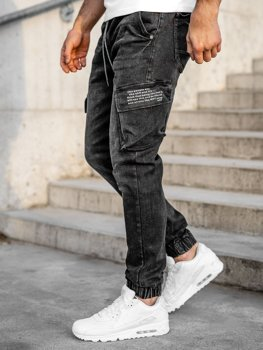 Черные джинсовые джоггеры-карго мужские slim fit Bolf 61015W0