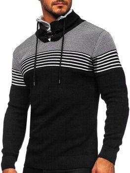 Черный мужской свитер толстой вязки с воротником-стойкой Bolf 1039