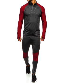 Чоловічий спортивний костюм графітово-червоний Bolf 509