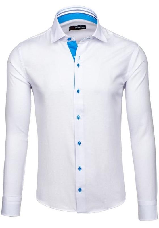 Белая мужская элегантная рубашка с длинным рукавом Bolf 6923