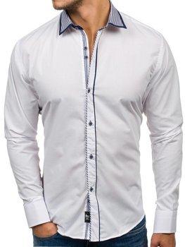 Белая мужская элегантная рубашка с длинным рукавом Bolf 6940
