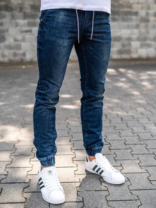 Брюки  джоггеры джинсовые мужские темно-синие Bolf KA666