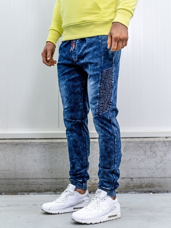 Брюки джоггеры мужские джинсовые темно-синие Bolf kk1037
