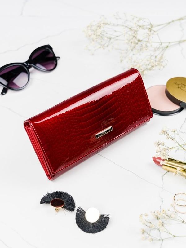 Женский кожаный кошелек красный 2099