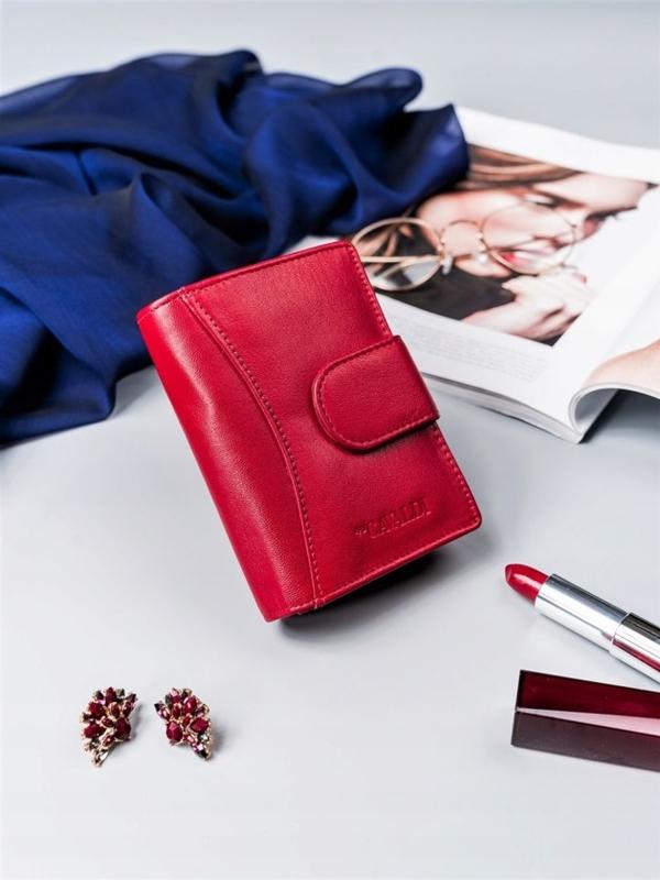 Женский кожаный кошелек красный 2417