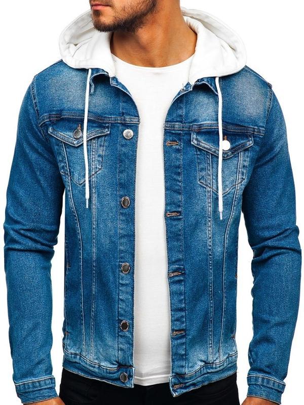 Куртка мужская джинсовая с капюшоном темно-синяя Bolf 606