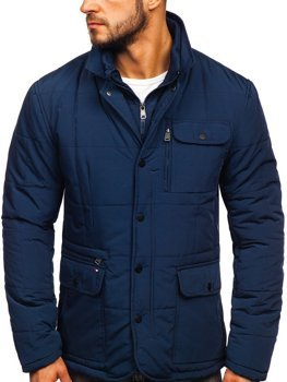 Куртка мужская зимняя элегантная темно-синяя Bolf 1976