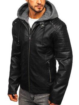 Куртка мужская кожаная с капюшоном черная Bolf 1135