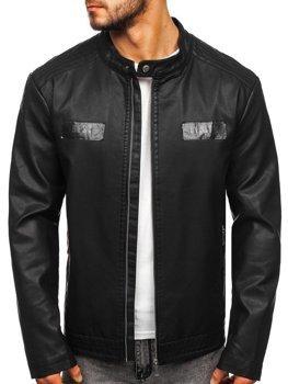 Куртка мужская кожаная черная Bolf 1122