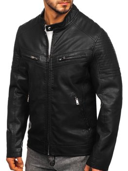 Куртка мужская кожаная черная Bolf 1125
