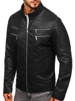 Куртка мужская кожаная черная Bolf 1126