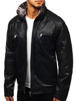 Куртка мужская кожаная черная Bolf EX834