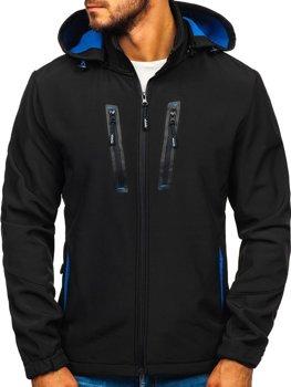 Мужская демисезонная куртка софтшелл черная Bolf KM82627