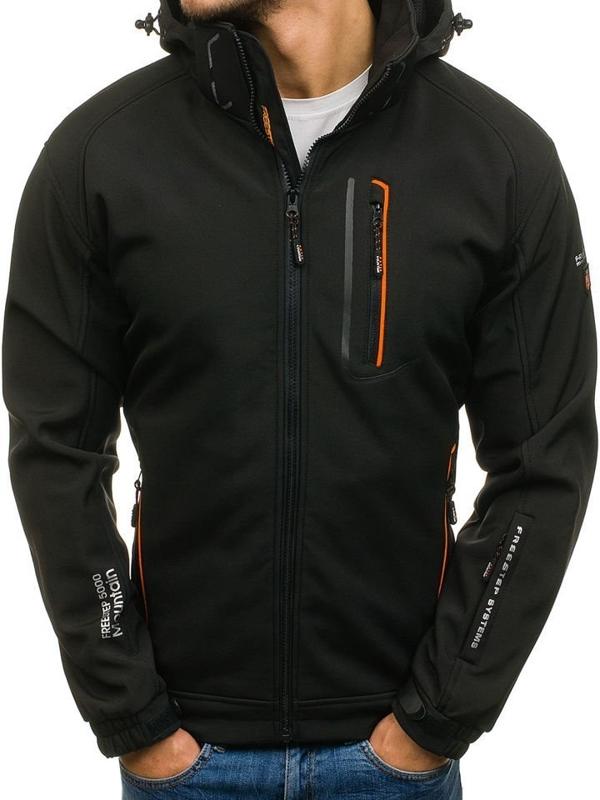 Мужская демисезонная куртка софтшелл черно-оранжевая Bolf 6602