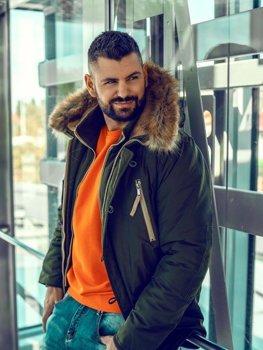 Мужская зимняя куртка парка зеленая Bolf 1045B